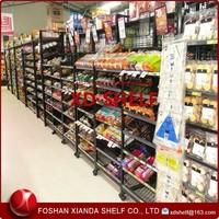 Grid Mesh Back Food Shelving /Floor shelving beverage wire shelving display