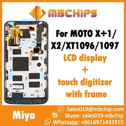 For moto x+1 x2 (2nd gen) xt1096 xt1097 lcd display with touch digitizer assembly with frame