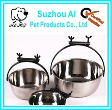 Hanging Food and Waters stainless steel dog bowls