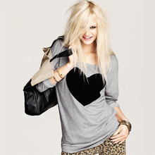 Women's heart pattern T-shirt long sleeve O-neck t shirt with wholesale price 18409