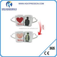 heart shape ceramic couple mug(sublimation photo mug)