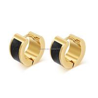 Alibaba Wholesale 18K Gold Indian Earring Black Huggie Earring Findinds