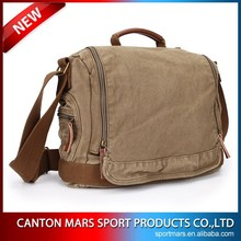 Messenger Bag Men Canvas Shoulder School Bag with Genuine Leather
