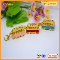 Western double sightseeing bus charms fashion vehicle model pendants cheap in bulk #16964