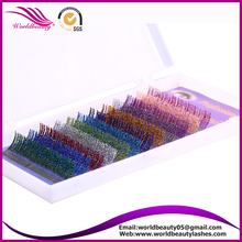 Customized logo package, Individual Glitter eyelash extension with silver/orange/light green/pink/blue/purple/red/blue