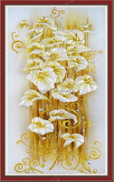 Best Price 5D DIY Lily Flower Diamond Painting Crystal Full Round Rhinestone 3D Cross Stitch Needlework Embroidery Decoration