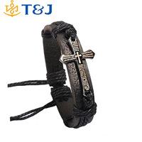 <Fine Jewelry 2015 Bracelet For Women Men Jewelry Handmade Braid Genuine Leather bracelet Wrap Charm Cross Bracelets/