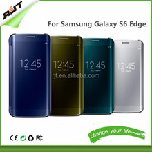 Ultra Clear View Cover For Samsung GALAXY S6 Edge S6 Mirror Screen Flip Leather Screen Protector phone case