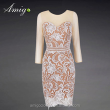 lastest hot sell nude color long sleeve formal dress lace prom dress retail wholesale