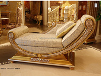 Luxury French Style Living Room Chaise Lounge/Royal Palace Golden Reclining Chair/Classic Unique Wood Carving Daybed,Dormeuse