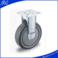 5 inch fixed TPE institutional 125mm grey furniture caster with swivel top plate with ball bearing