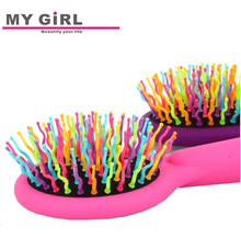 My girl Silver Plated Plastic round Compact Hair Brush
