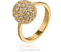 Factory Gold Plated Wedding ring, 18K gold plated engagement round shaped crystal ring for women