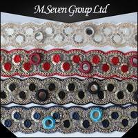 Wholesale 3.5cm wide Embroidery Lace, Wholesale eyelet sequin beading fabric, fancy embroidery lace trim for garment / bag