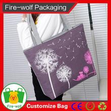 2015 China Wholesale Zipper Recyclable Canvas Leather Lady Handbag Fashion Lady Handbag
