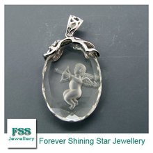 FSSP013 fashion silver crystal jewelry / carving craft