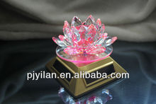 beautiful solar energy rotary pink lotus solar energy crystal LED crystal decoration