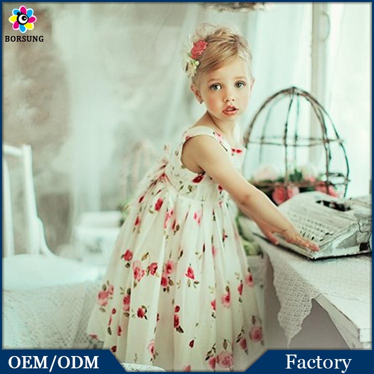Children Cotton Long Frock Designs New Fashion Rose Printed Flower Girls Summer Party Maxi Dresses