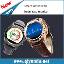 2015 Resonable Price QYD Leather Watch Strap Smart Watch and heart rate monitor watch with Sedentary Reminder and Speaker