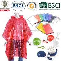 Disposable emergency PE rain poncho/rain coat/raincoat in ball