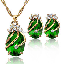 Copper Gemstone Fashion Jewelry Sets,Drop Earrings Crystal Pendant Necklace Bridal Jewelry Set (Red,Green,Blue,Purple and Black)