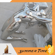 Stainless steel polished nude female sculpture