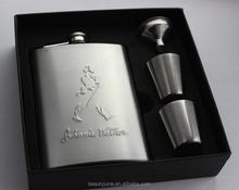 8 oz Hip Flask set Portable Stainless Steel Wine Bottle Gift Box Pocket Flask,Embossed Images Hot Sale 2015