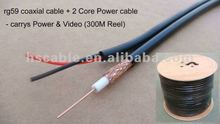 High Quality RG59 Bare Cooper Coaxial Cable +2 Core Power Cable for CCTV