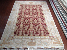 200X300cm red hereke bedroom hand made 260L wool&silk carpet