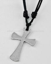 Burnished Silver Tone Metal / Black Cord / Lead Compliant / Templar Cross Pendant / Adjustable Necklace