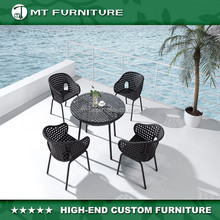China cheap wholesale garden furniture black wicker rattan dining chairs