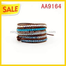 Promotional weaved in cheep price leather Christmas decoration China Manufacturer bracelet
