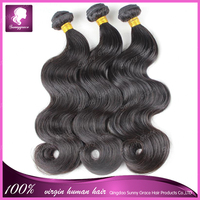Sunny Grace Hair Peruvain Virgin Hair Wavy Natural Black Peruvain Hair Weave Bundles Unprocessed Virgin Human Weave Thick & Soft