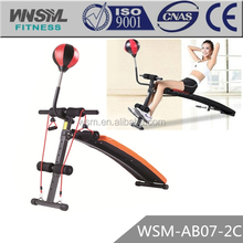 Adjustable Curved Decline Sit Up Bench with Punching Speedball for Ab Core Workout