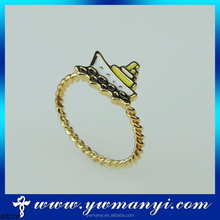 Fashion new arrival real gold plating ship of shape custom smart Enamel Ring with wholesale