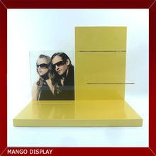 Yellow Paint Wooden Base and Backboard Sunglass Display,Acrylic Shelf,Poster Display