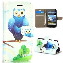 Owl Pattern Magnetic Flip Stand PC+PU Leather case for huawei ascend y330