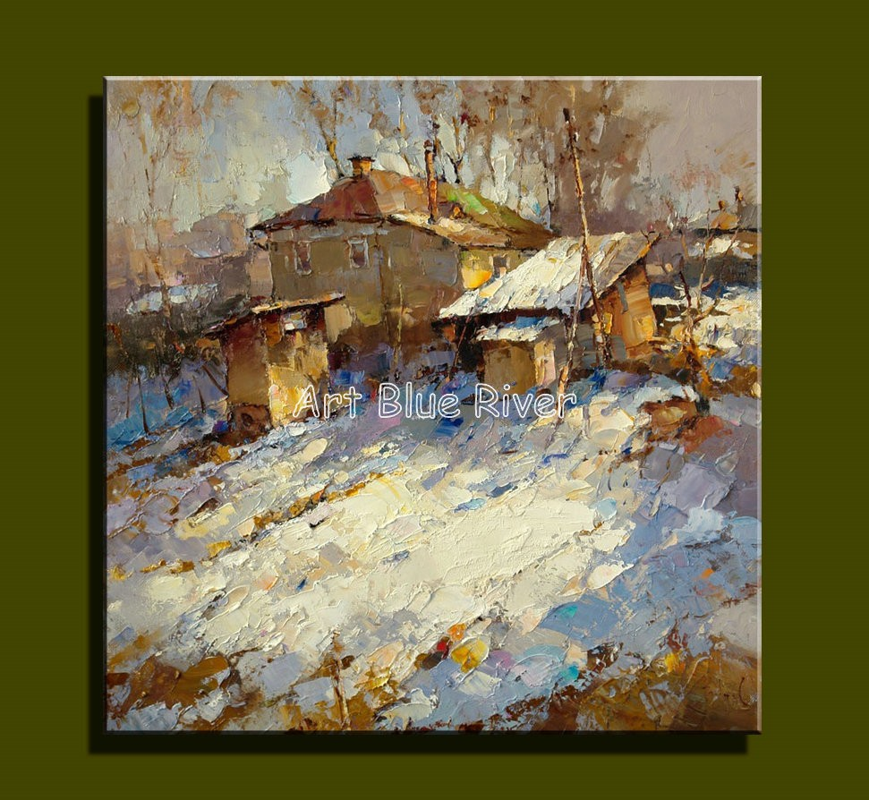 Buy Abstract modern canvas wall Handmade decorative Knife winter picture oil painting  on canvas for door living room decoration cheap