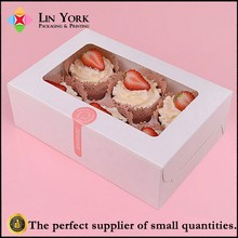 High end 6pcs white paper cup cake box