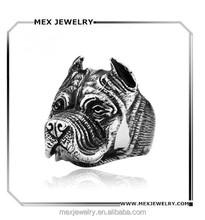 Fashion Wholesale 316l Stainless Steel Pit Bull Bulldog Dog Ring Men Personality Animal Ring