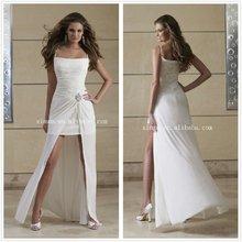 2012 Sexy Ruffled Chiffon Spaghetti Straps Front Short and Long Back Wedding Dress