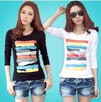 Hot sale long sleeve screen printed girls shirts,china cheap o-neck women clothing free shipping