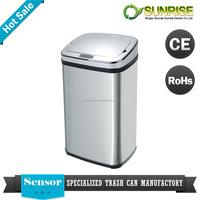 big waste bin infrared sensor automatic stainless steel dustbin