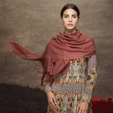 Brown Color Fringe Shawl Fine Wool Cape Shawl
