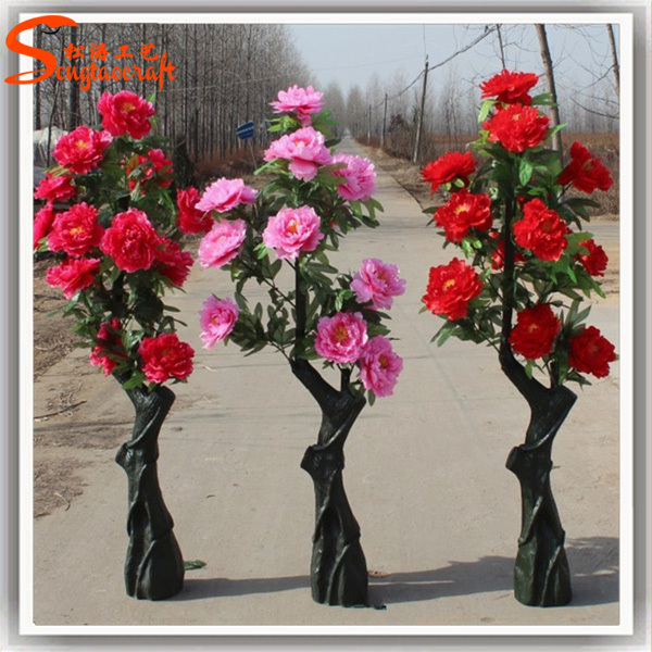 Large mall artificial flower tree landing placed pink flower trees g mightylinksfo