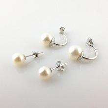 Double pearls stud earrings customized pearl earrings two parts pearl earrings