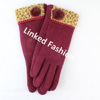 Stocks Sexy Lady Wine touch screen gloves with Pompons fashion style for fall winter guante luva Handschuh