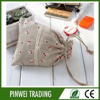 wholesale small jute drawstring gift bag /screen printed burlap drawstring bag