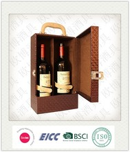 Customize handmade PU Leather Wooden Wine Packaging Gift case/Wine Bottle Carrier box