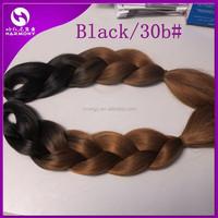 ( 8 packs Black+30B ) STOCK 2-tone color jumbo braid hair/ombre colored synthetic kanekalon braiding hair